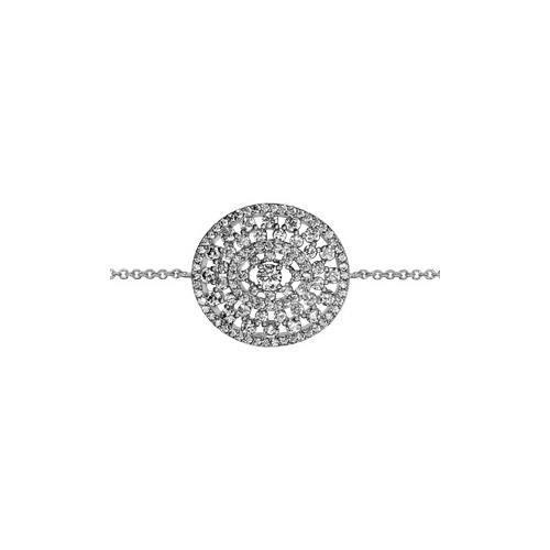 Bracelet argent rhodié forme ovale ajourée oxydes