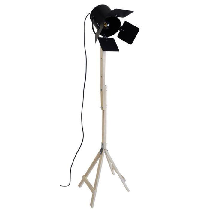 Lampadaire trépied cinéma en bois Bolywood 150 cm E27 40W noir