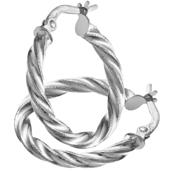 Ril1400w - Boucles Doreille Femme - Or Blanc 375-1000 (9 Cts) 1.0 Gr - Verre I2O6A