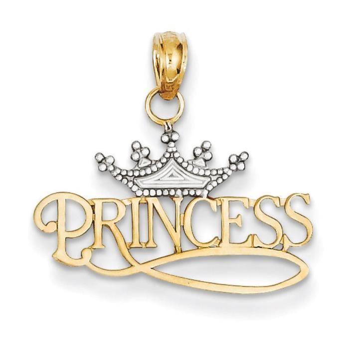 Poli 14 carats et Rhodium avec pendentif de couronne de princesse