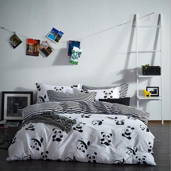 parure de lit coton le dessin des pandas 4 sets de housses. Black Bedroom Furniture Sets. Home Design Ideas