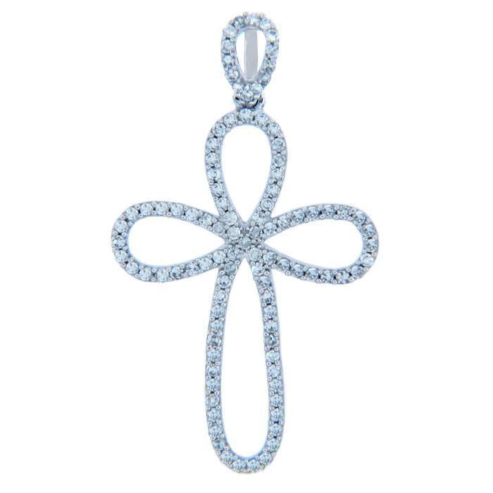 Collier Pendentif14 ct 585/1000 de Diamants en or Boucle Croix Avec