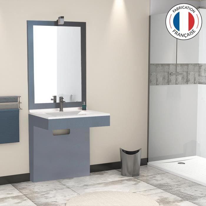 meuble salle de bain pmr simple vasque morph a 80 gris 80 profondeur 55 achat vente. Black Bedroom Furniture Sets. Home Design Ideas