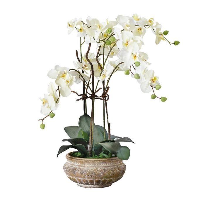 Pureday plante artificielle orchid e avec pot en - Arrosage orchidee en pot ...