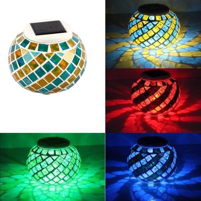 Lampe Solaire LED Mosaic Globe Lampe Solaire Décoration Veilleuse ...