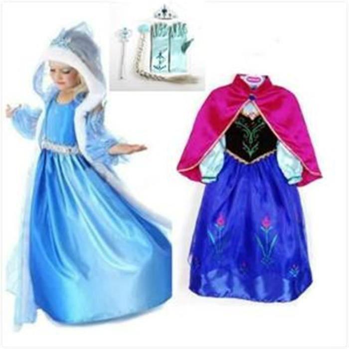 84a3484ad26ab Kit Deux Robe Elsa et Anna Reine des Neiges+4 Accessoires Robe Enfant  Cadeaux Luxe 4-5 ans