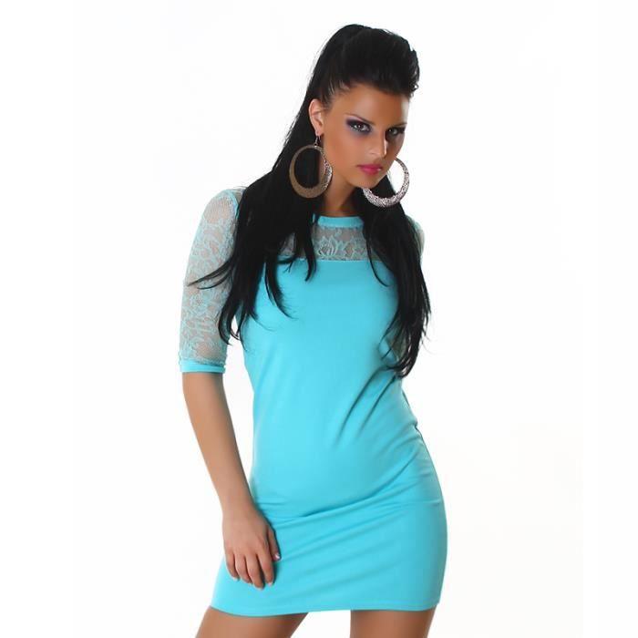 Robe moulante bleu turquoise