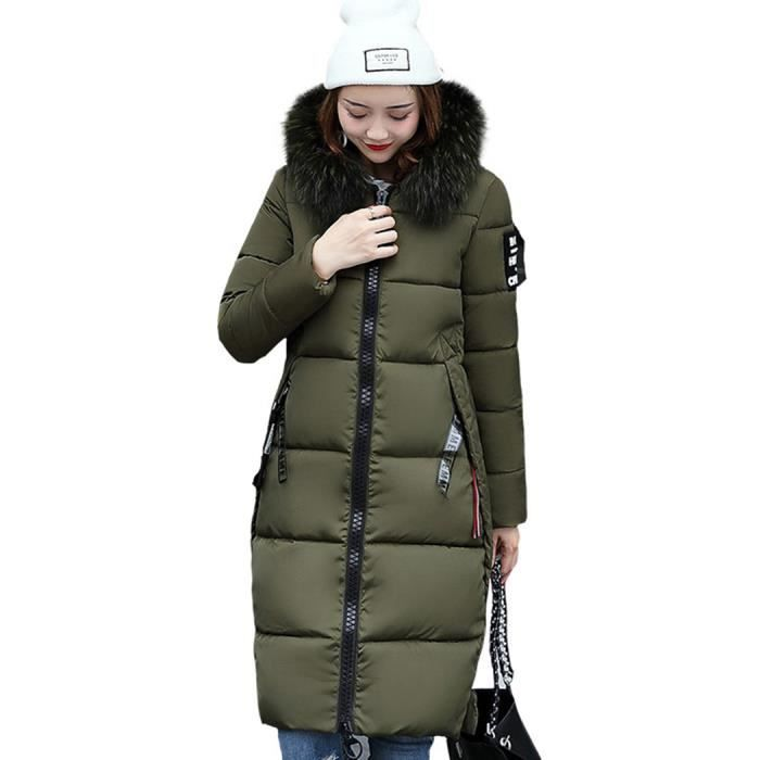 Doudoune Femme Hiver Coton Matelassé Mi-longue avec Capuche Grande Col en  Fourrure Chaud Épaisse Vogue Lettre Grande Taille-Vert fca6fced72a