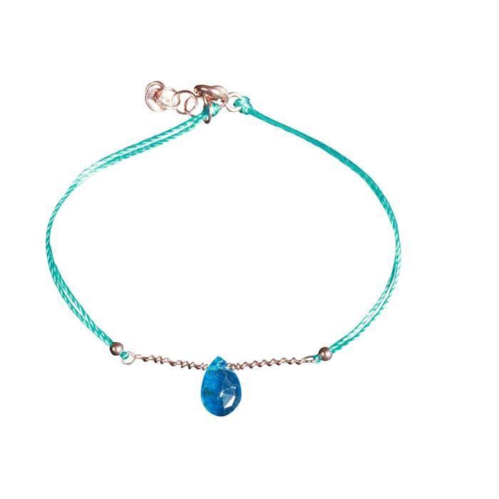 Bracelet Barbarella pierre fine Apatite et fil doré rose