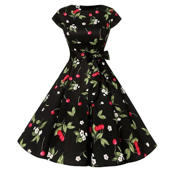 Frankmall®Femmes Vintage floral robe de soirée Bodycon courte manche Casual Prom SwingNoir ZSS71212424BK