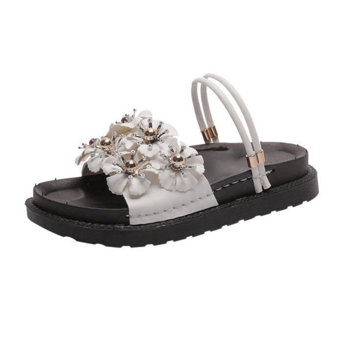 De 5199 Unie Plage Sandales Fleur Femmes Mode Plat Slipper Couleur Talon Chaussures O6qzBSn