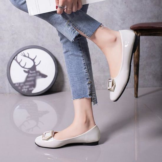 Femmes Shallow Square Buckle Slip On Low Single Heel Shoes Round Toe Single Low Shoes Gris Gris Gris - Achat / Vente slip-on 88aa83