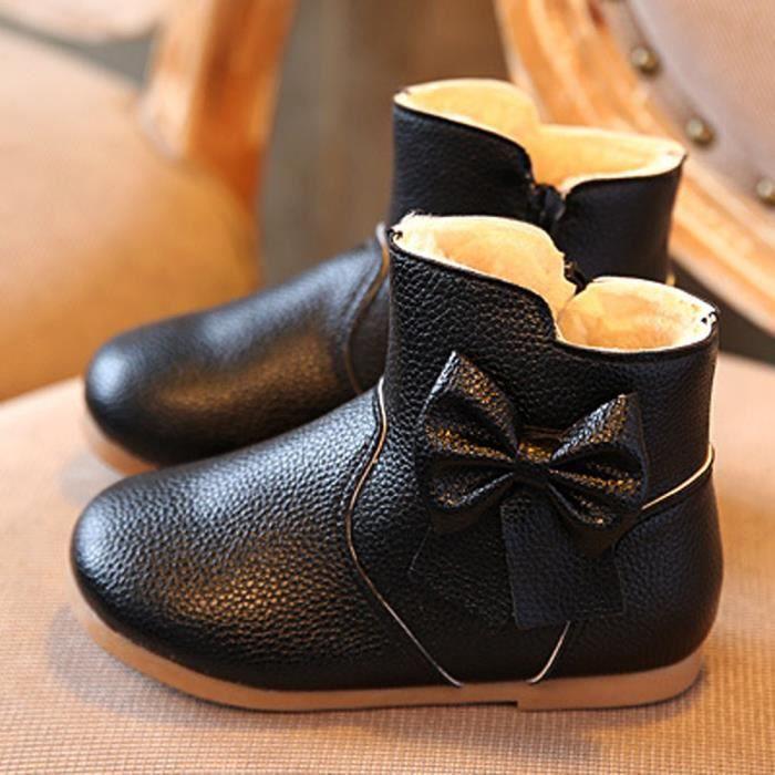 Kids automne hiver enfants chauds Martin bowknot filles chaussures anti-dérapant bottes Noir pBt36w