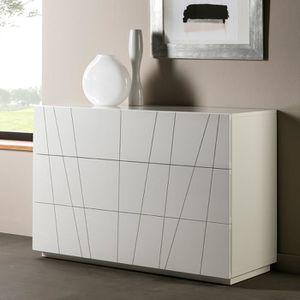 Commode blanc laque achat vente pas cher - Chambre blanc laque design ...
