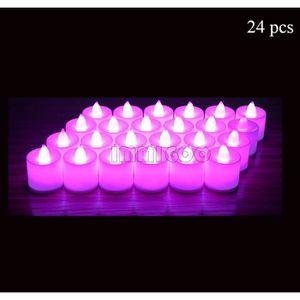 afa1c1f62af65 BOUGIE ANNIVERSAIRE IMMIGOO-Lot de 24 Pièces LED Bougie Rose Electroni