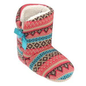 Pantoufles neige motif fleur couverture talon tricot chaud chaussons 3358794 MI7POfwEic
