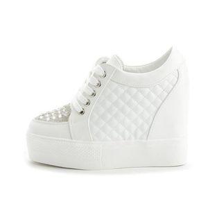 Chaussure Compensee Femme Basket Augmentation De La Hauteur Grande Taille Populaire BLLT-XZ110Blanc36 aEMDmw22
