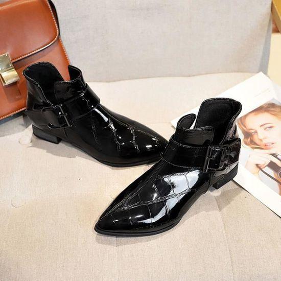 Femmes Mode cuir solide Zipper épais Martin Bottes Chaussures à bout rond Noir Noir - Achat / Vente botte