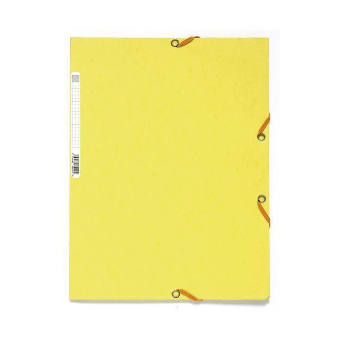 EXACOMPTA - Chemise à élastique - 3 rabats - 24 x 32 - Carte lustrée 390G - Jaune citron