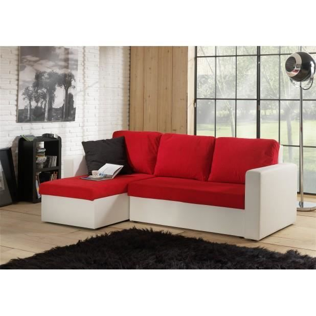 canap d 39 angle convertible avec coffre rouge blanc venus. Black Bedroom Furniture Sets. Home Design Ideas