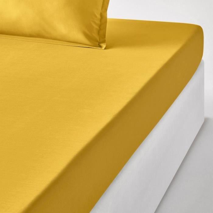 drap housse 90x200 cm Drap housse 90x200 cm 100% percale couleur SAFRAN gamme SENSEI  drap housse 90x200 cm