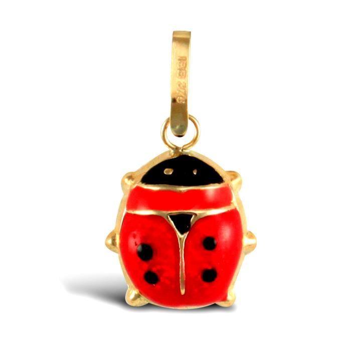 Jewelco Londres dames 9K émail or jaune rouge coccinelle noire charme pendentif