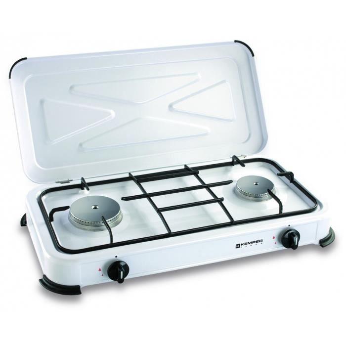Plaque de cuisson gaz portable 2 feux - 2600 w - blanc laqué - Prix ... 99540f65cc76