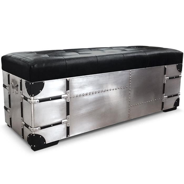 banquette coffre et poufs m tal et simili cuir rico xl noir achat vente pouf poire cdiscount. Black Bedroom Furniture Sets. Home Design Ideas