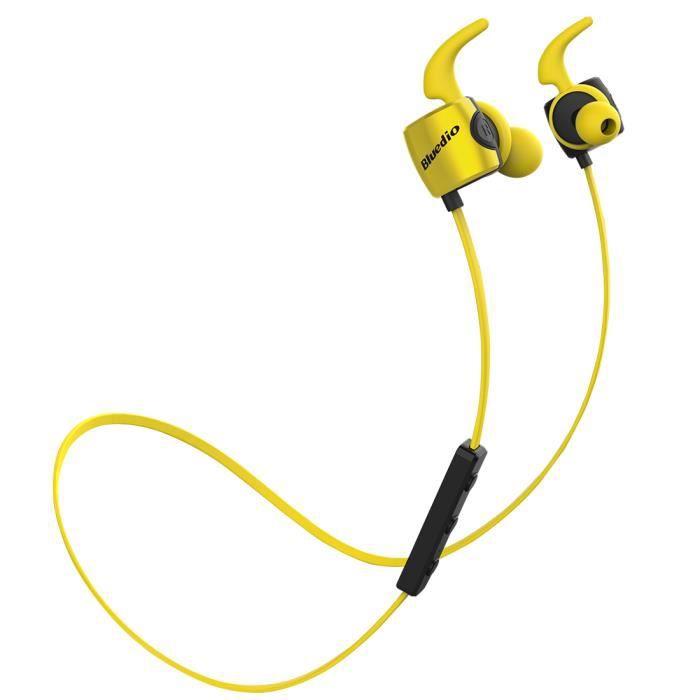 Bluedio Te (turbine) Écouteur De Sport Course Bluetooth 4.1 Sans Fil Résistant À Sueur Intra Auriculaire Avec Microphone Jaune