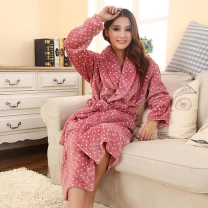 robe de chambre polaire femme rose pois blancs col ch le achat vente robe de chambre. Black Bedroom Furniture Sets. Home Design Ideas