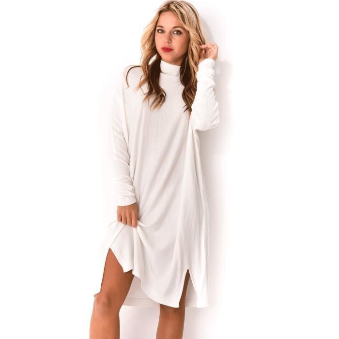 56dd324b38e Robe pull oversize - Blanc Blanc Blanc - Achat   Vente robe - Cdiscount