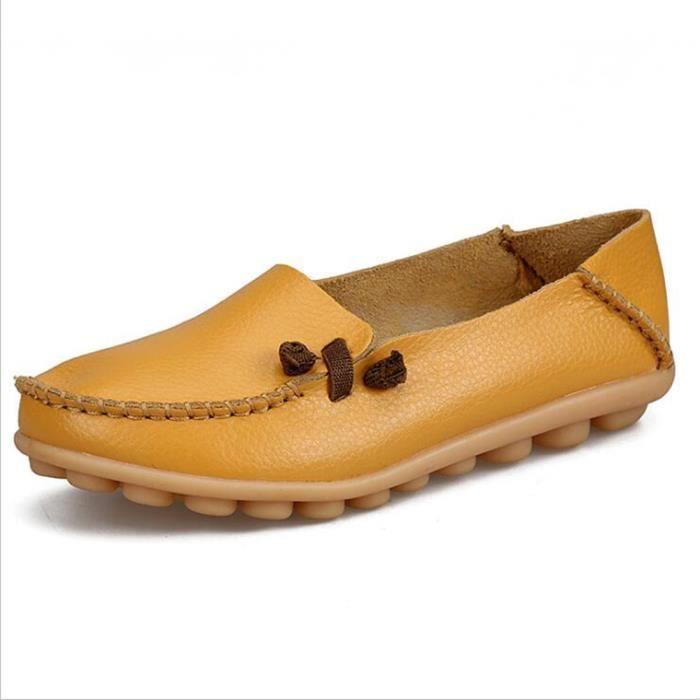 Moccasins femmes De Marque De Luxe Qualité Chaussure Plus Taille Confortable Respirant femme Moccasin cuir Nouvelle arrivee