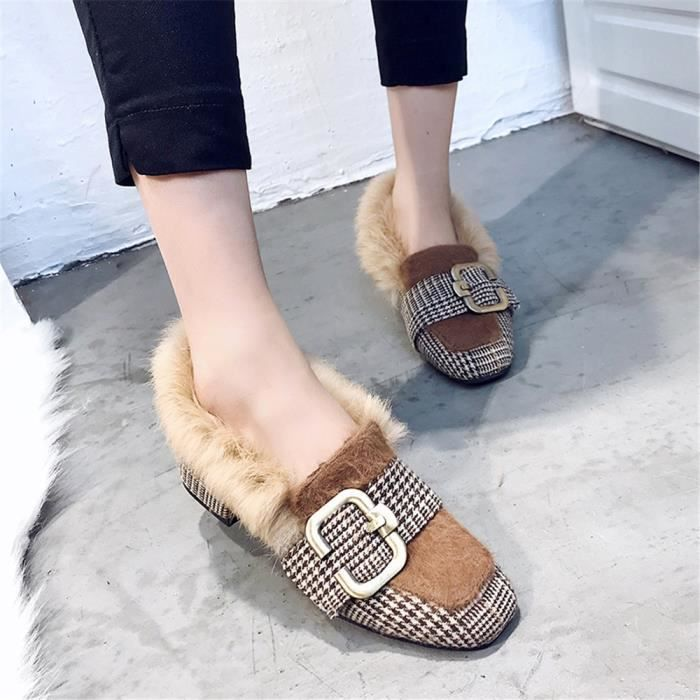 Mocassins Femme 2018 Nouvelle Mode Meilleure Qualité Marque De Luxe Confortable Durable Chaussures marron noir Grande Taille 35-39 rzR65lIfU