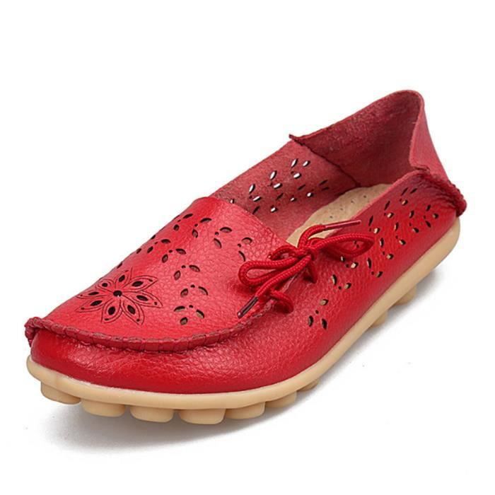 Mocassin Femmes ete Loafer Ultra Leger Respirant Chaussures BWYS-XZ051Rouge37