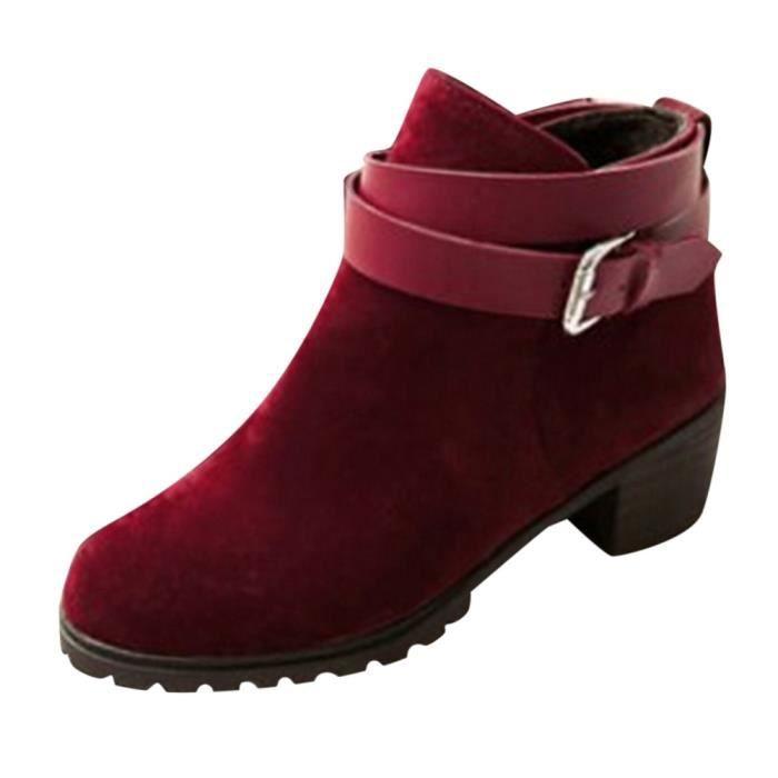 Féminine D'hiver Chaussures Rouge Bottes Bracelet Mode Courtes Buckle Cheville Roman Moyen Talon P88ztxZq