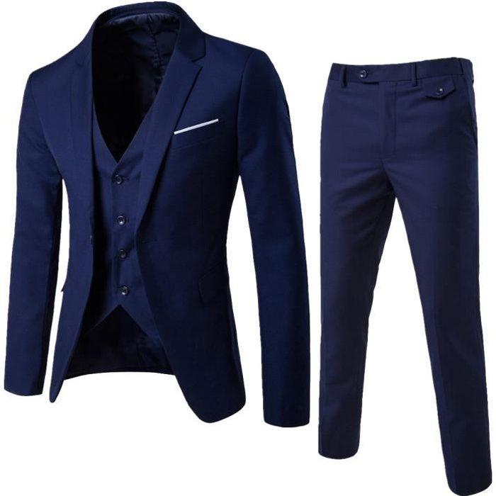d1bf07f0f41ff3 Costumes Slim Costume 3 pièces Blazer de soirée de mariage d'affaires Veste  Veste et pantalon Marine