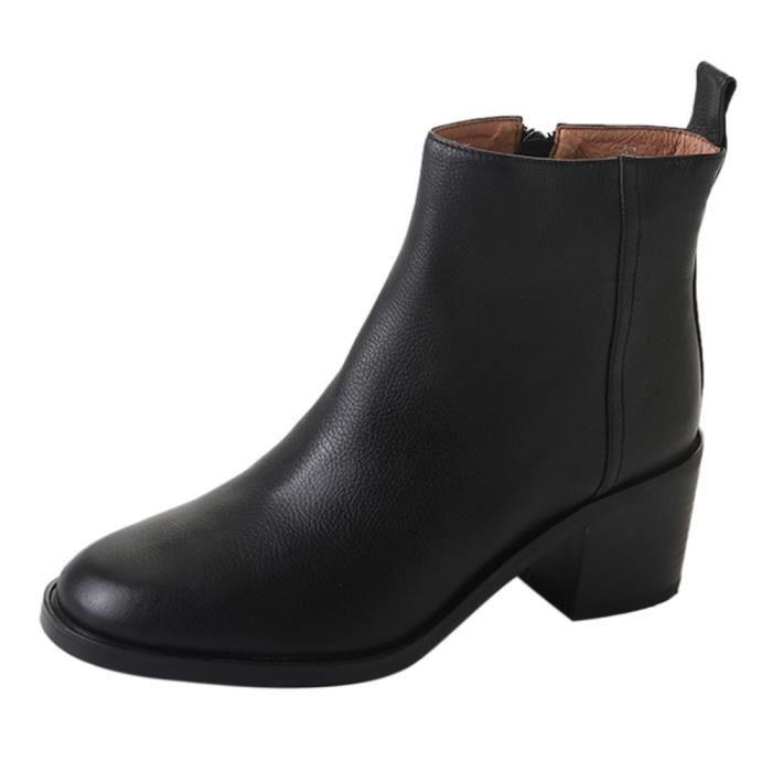 Chunky Noir Courte Talon Botte Bottines Épais Éclair Talons Cheville Fermeture Femmes Vintage Chaussures TqSw45