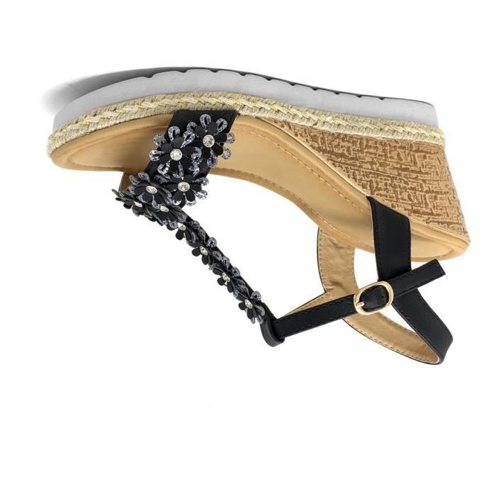 Sandale Tressé Compensé Noir Effet Chaussure Folk Ethnique Talon Femme Bois Mode Angkorly Cm Romantique Fleurs Salomés 8 bfv6gY7y
