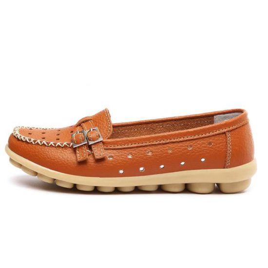 Mocassin Femme Cuir Printemps Été - Chaussures YST-XZ066Orange35 Orange Orange - Été Achat / Vente escarpin fef95f