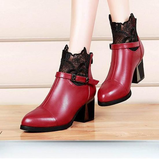 Dentelle Zip Chaussures Oppapps3066 Plaid En Femmes Confortables Bottes Chunky Mesdames Métal Boucle ZwxxSABFqU