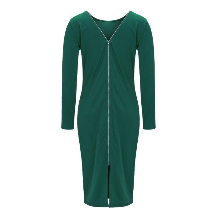 Vert Sexy Robe de Femme longue sirène d'hiver dos nu manche longue zippé au dos col rond Taille moyen élégant Rétro M-XL