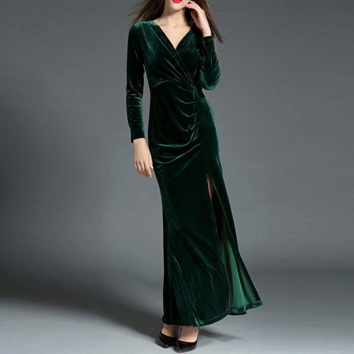 de Benjanies®V manches soirée Casual XMM8116707 longues partie VERT pour Bodycon Neck femmes robe EqRqxHA