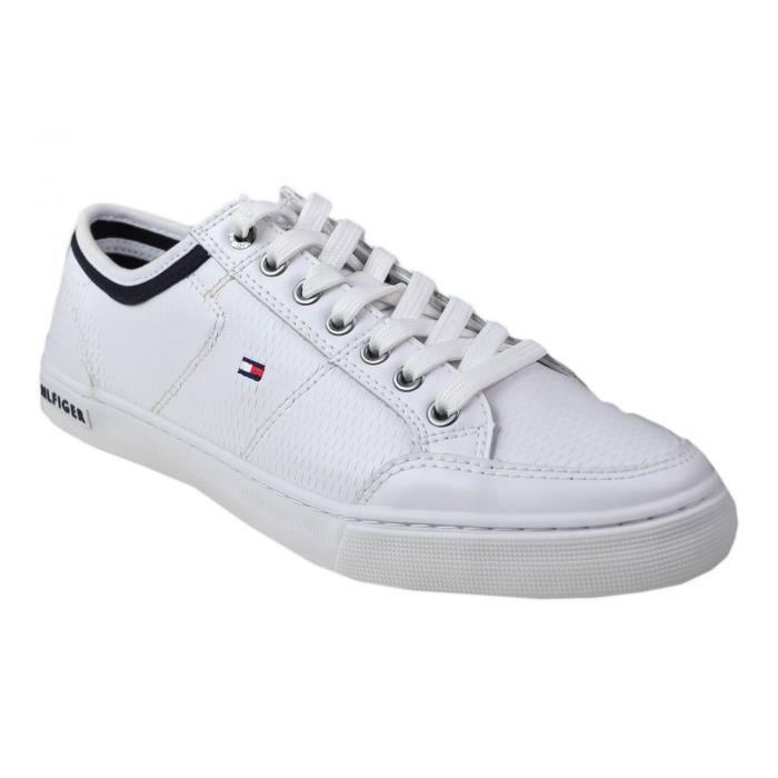 Baskets Tommy Hilfiger Corporate en cuir blanche pour homme - Couleur: Blanc - Taille: 44