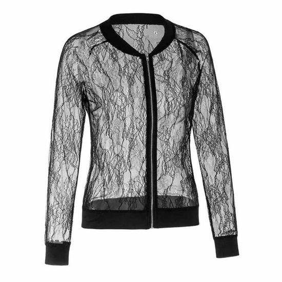 Casual Reservece Vintage Noir Chemisier Outwear Blazer Zipper Femmes Évider Manteau Veste Fleur UxUrwqCXW5