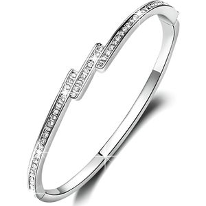 BRACELET - GOURMETTE -Aurore-Bracelet femme-plaque or blanc-autrichien