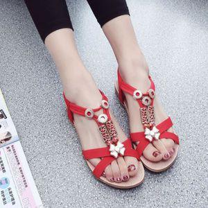 CHAUSSON - PANTOUFLE Mode femmes Boho sandales en cuir sandales plates