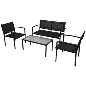 4 pcs Jeu de meuble de jardin Noir Textilène Salon de jardin ...