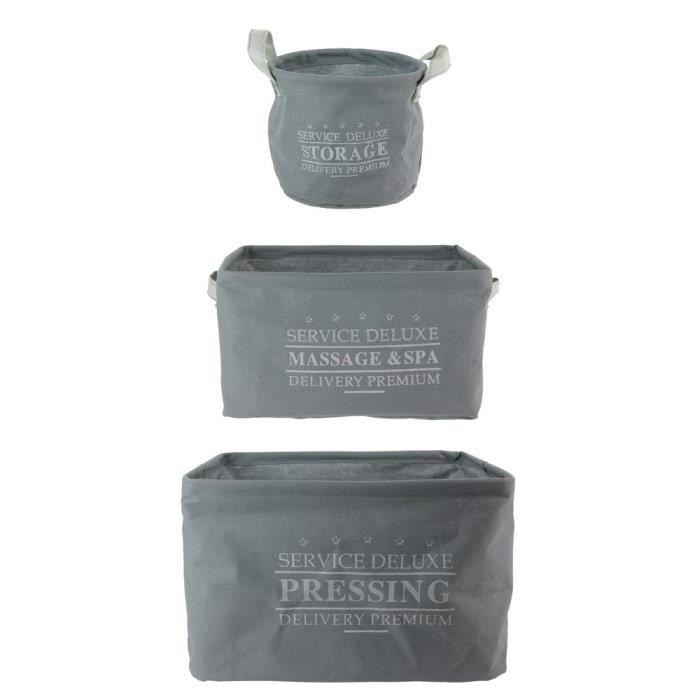 Lot De 3 Bacs Paniers Rangement Deluxe 3L + 9L +3L Gris