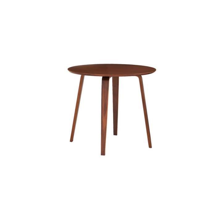 petite table scandinave ronde noyer - lack noyer - achat / vente