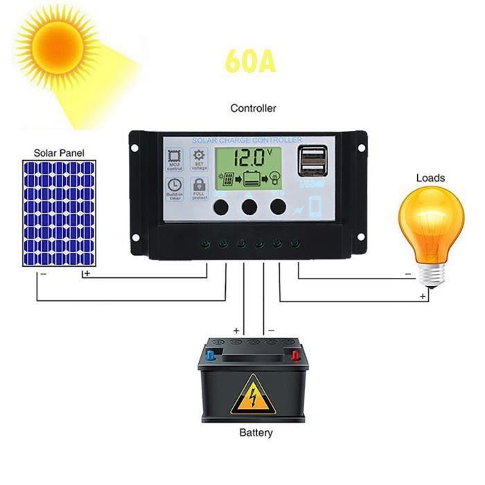 Contrôleur de charge de régulateur de panneau solaire USB 60A 12V ... ffe1af69c9fb